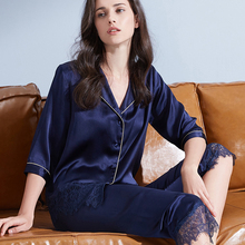 Women 100% Real Silk Pajamas Set 2019 Solid Nightgown Pyjama Femme Sleep
