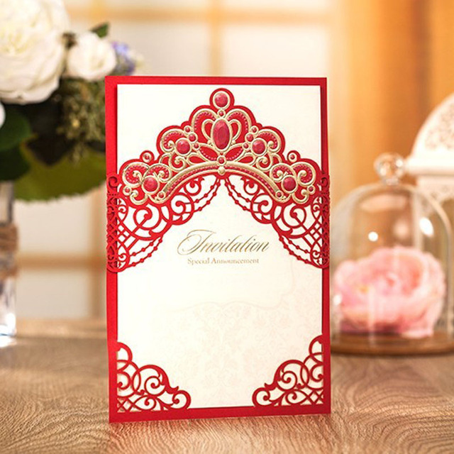 Luxury Crown Wedding Invitations Red Laser Cut Birthday Business Graduation Party Invitation Cards Envelope