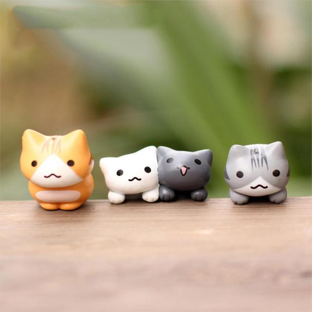 Lovely 6pcs/set Cartoon Lucky Cat Micro Landscape Kitten Miniature Craft Home Garden Bonsai Decorations Miniatures Gift 3