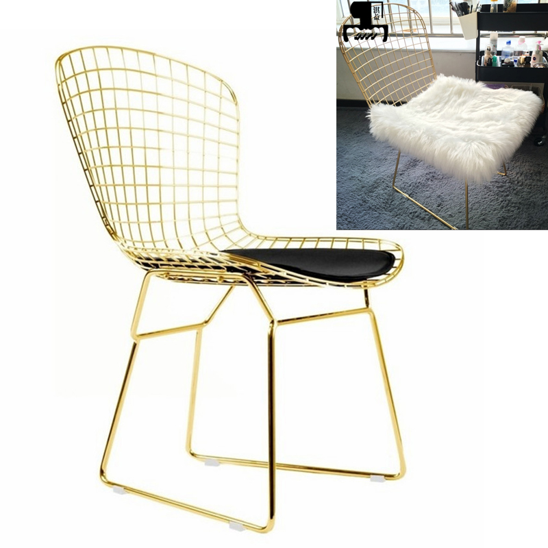 High Quality Nordic Golden Iron Hollow Chair Stool Dining Room Office Home Coffee Chair with Wool/PU Cushion Metal FurnitureHigh Quality Nordic Golden Iron Hollow Chair Stool Dining Room Office Home Coffee Chair with Wool/PU Cushion Metal Furniture