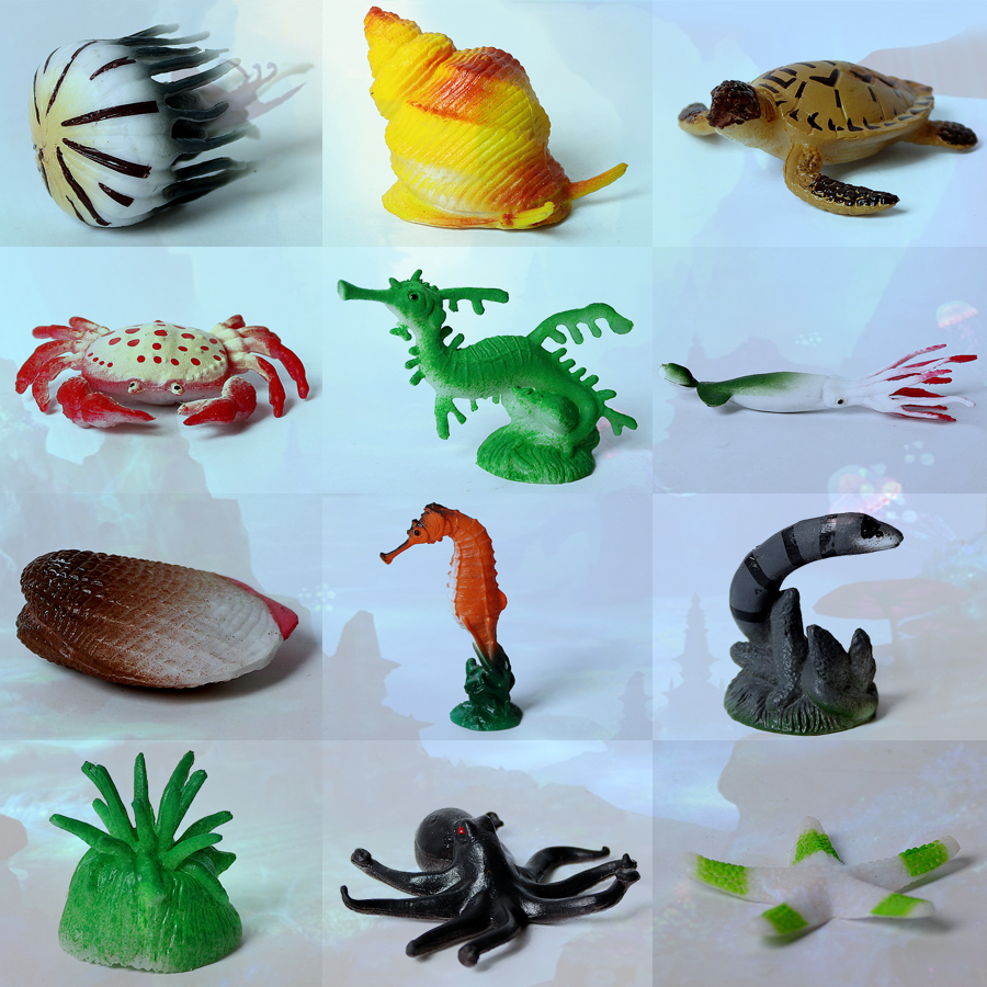 Lot 12 Assorted Marine Animal Crab Models Action Figures Kids Toy Party Bag
