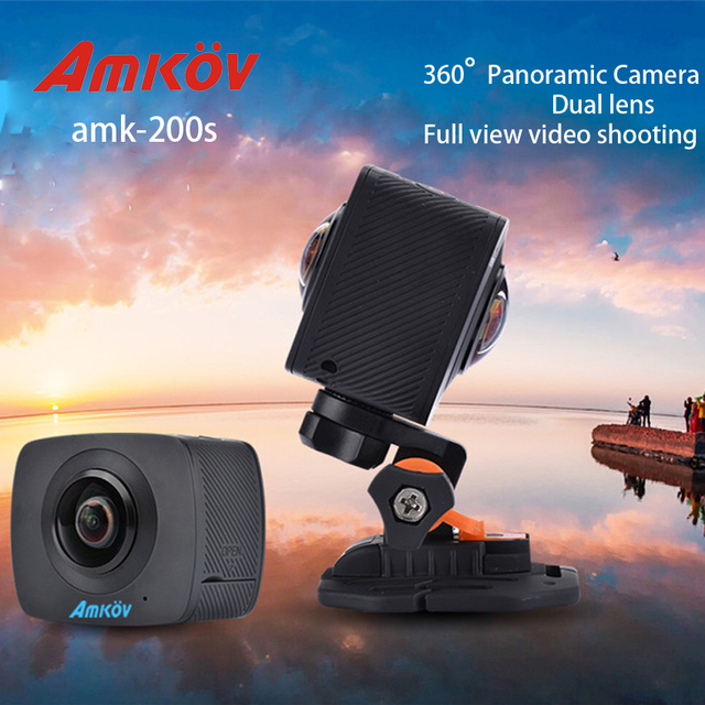 AMKOV AMK200S 360*360 Degree Dual Fisheye Lens Action Camera All View Virtual Reality VR Camera 960P 30fp WiFi Sport Camera