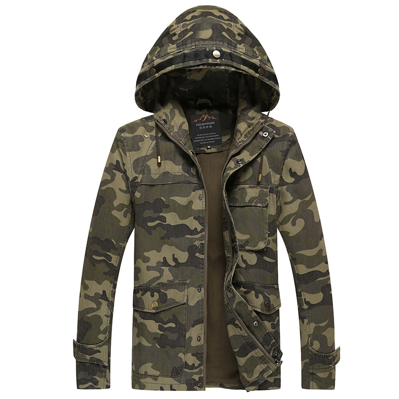 Military Style Camo Jacket for Men