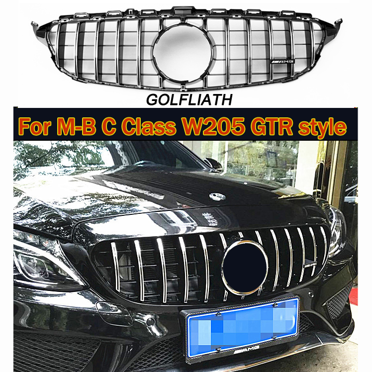 For C Class W205 AMG GT R ABS Front Bumper Mesh Grill Grille For mercedes C180 C200 C260 C300 Sports 2015-2018 no camera 11 11 promotion for w204 amg gt gtr grille for mercec class w204 racing grille c180 c200 c250 c300 2008 2014 front grill