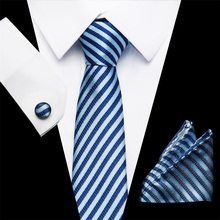 Men Tie Necktie Pocket Square Classic Party Wedding Mens Fashion stripe Silk Woven Handkerchief Set