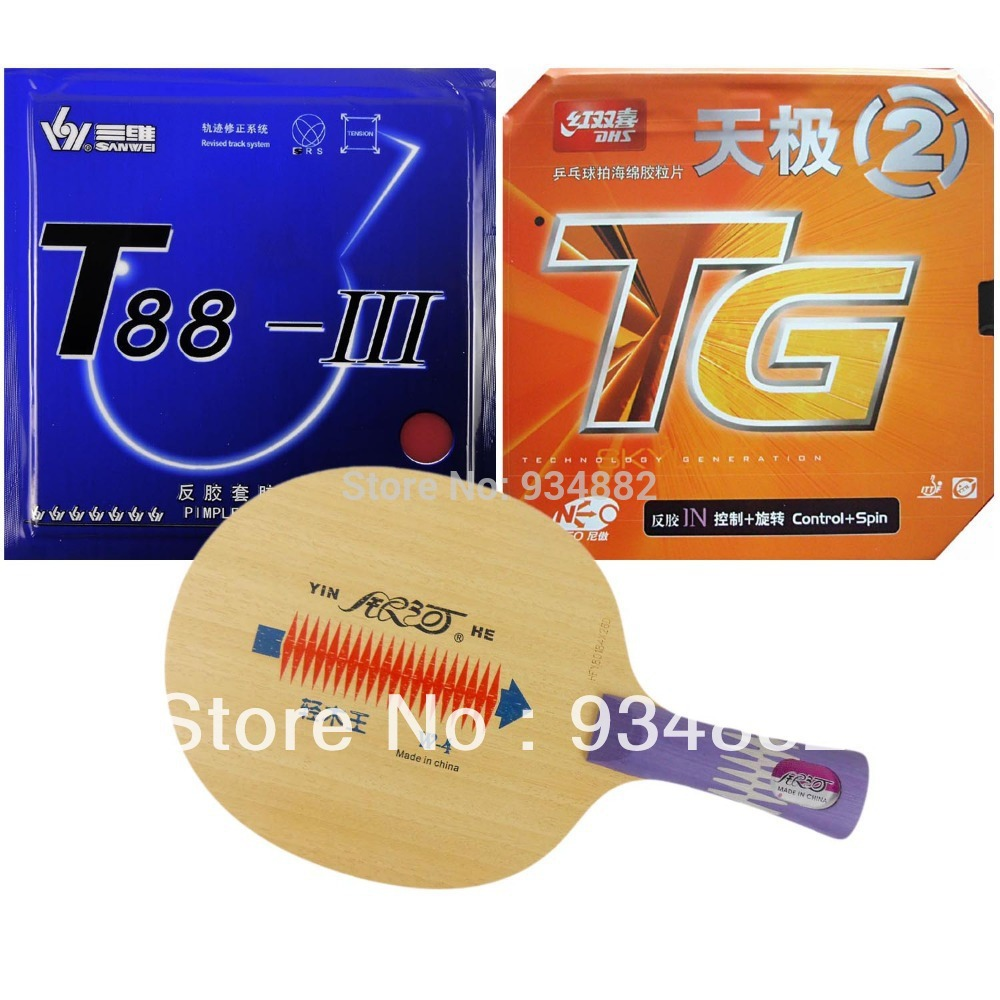 Pro Table Tennis Ping Pong Combo Paddle Racket Yinhe W-4 + DHS NEO Skyline TG2 and Sanwei T88-III Shakehand long handle FL yinhe earth 4 e4 e 4 e 4 shakehand table tennis ping pong blade