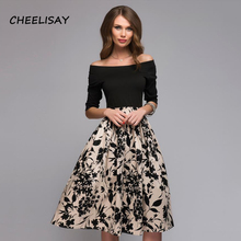 Women Spring Autumn Floral Print Dress Women Off Shoulder Sexy Party vestidos Female Boho Casual Dresses womens spring off the shoulder dresses 2018 europe and united states brand autumn female print dress casual ladies long dress