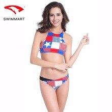 SWIMMART bikini conservative high back swimsuit swimwear women waist bathing suit swimming push up
