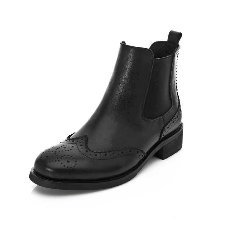 SWYIVY hakiki deri çiçek Brogue Chelsea çizmeler kalın topuk yeni kadın Retro kadife kürk sıcak kar botları ayakkabı Vintage ayakkabı