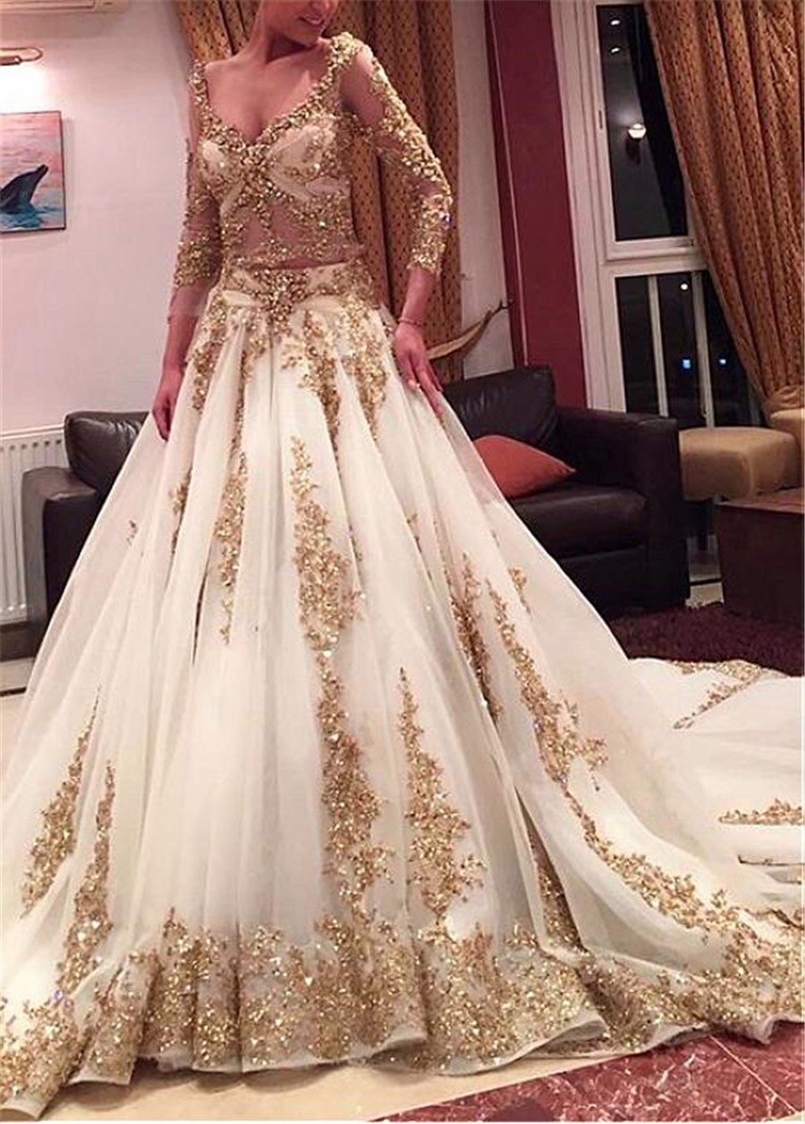 Image 2 - Luxury Tulle V neck Neckline A line See Through Wedding Dresses with Beaded Lace Appliques Two Pieces Gold Bridal Gowns-in Wedding Dresses from Weddings & Events