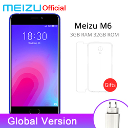 Official Meizu M6 3GB RAM 32GB ROM Mobile Phone MTK6750 Octa Core 5.2'' Screen 1280x720P 13.0MP Rear Camera Fingerprint ID