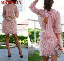 2019 розовые шифоновые коктейльные платья с короткими перьями