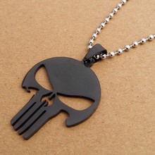 Punisher Skull Silver Chain Stainless Steel Pendant Necklace Fashion Unisex Jewelry
