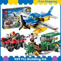 409pcs City Mountain River Heist Seaplane Amphibious vehicle Armored Truck 10864 Model Building Blocks Sets Compatible With Lego