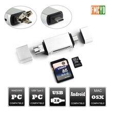 Adaptador Micro USB a tipo C compatible con tarjeta Micro SD/MMC/lector USB transferencia de datos OTG adaptador convertidor compatible para dropship