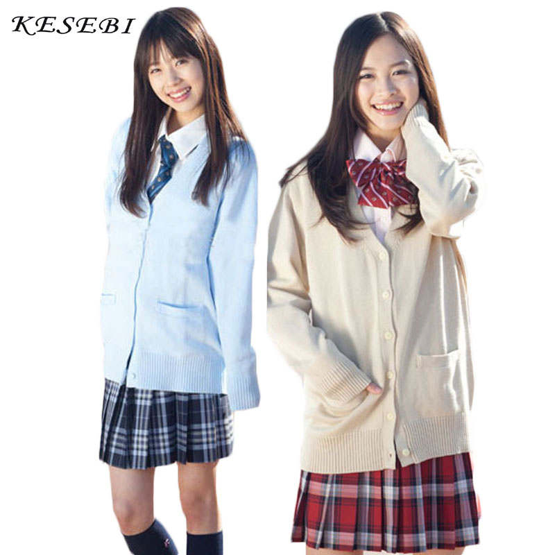 Kesebi Winter Japanese Style Students School Uniforms Girl Women Single Breasted Cardigans Female Long Sleeve V-neck Sweaters girl
