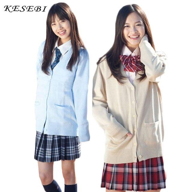 Sweater Women Japanese School Uniform Cardigan Women Winter Students Girl  Single Breasted Basic Female V,