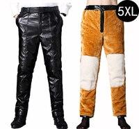 Men S Leather Pants Winter Warm Thick Faux Fur PU Leather Pant Faux Fleece Lambwool Trousers