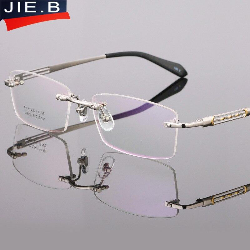 a3e31249673505 B Pure Titanium Brillen Frame Brillen Mannen Randloze Bril Mens Optische  Brillen Eyewear Frames oculos van grau in JIE. B Pure Titanium Brillen Frame  ...