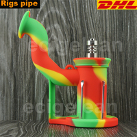 DHL 30pcs Silicone Rigs Pipe Silicone Hookah Bongs Silicone Oil Dab Rig Smoking Accessories Tobacco With