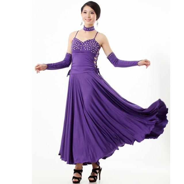 Multi couleur moderne robe de danse de salon foxtrot waltz tango quickstep diamant d coration - Robe de danse de salon pas cher ...