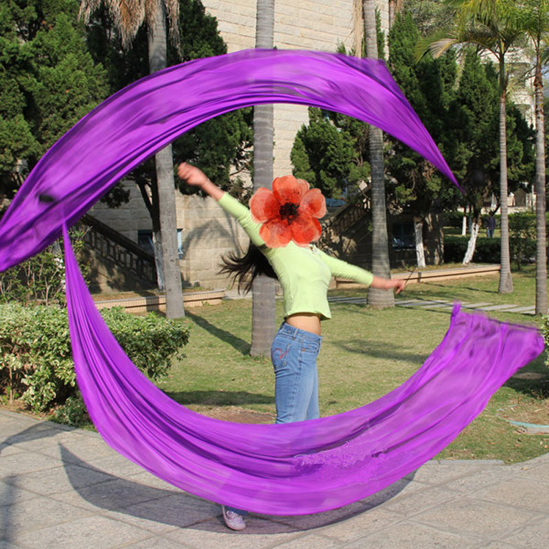 New Arrival Belly Dance Silk Veil Poi Streamer  Poi 1pair= 2pcs Silk Veil + 2pcs Poi-chain-ball Flowy Silk S/M/L/XL
