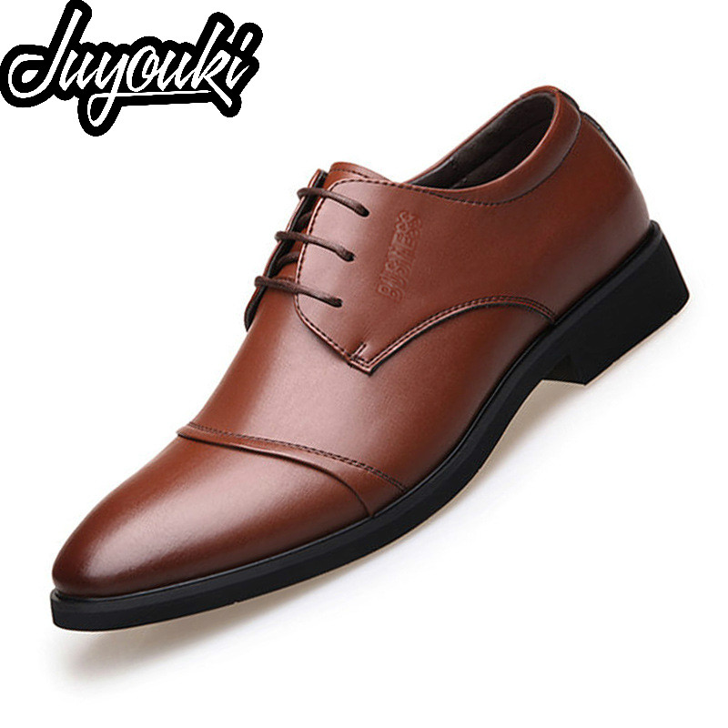 Clever Juyouki 2019 New Mens Dress Shoes Leather Formal Dance Mens Tip Head Bright Leather Mesh Business Leather Shoes Plus Size 48 And Digestion Helping Shoes Formal Shoes