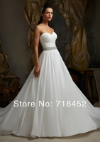 2014 Beach Wedding Dresses Casual Chiffon Sweetheart Beaded Sashes Bridal Gown In Stock Vestidos De Novia