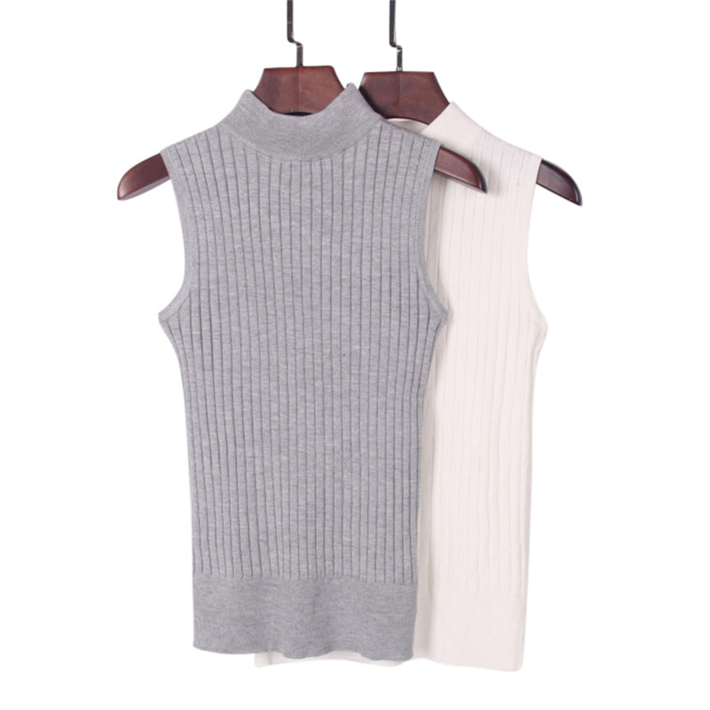 Women Sexy Fashion Knitting Vest Top Sleeveless O-Neck Shirt Casual Vest Female Tee