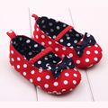 Spring Autumn Princess Shoes Anti Slip Bow Baby Shoes Soft Bottom Cotton Shoes Dot Infant First Walkers Baby Shoes Free Shipping