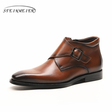 Men winter Boots Genuine cow leather chelsea boots brogue casual ankle flat shoes Comfortable quality soft 2019 brown black