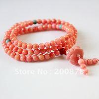仏教108ピンク巻き貝シェル数珠マラネックレス、5ミリメートル、女の子のブレスレットギフト