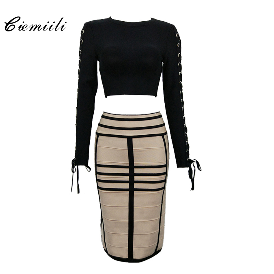 CIEMIILI 2018 Two Sets Lace Up O Neck Women Bandage Dresses Back Zippers Bodycon Nylon Patchwork