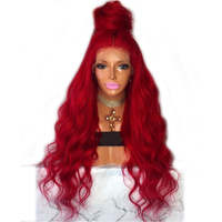DLME Long Red wavy Wig natural hairline Full Density Glueless lace front Wig Baby Hair heat resistant Women Red Synthetic Wigs