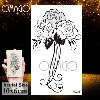 OMMGO Sweet Peas Sketch hoja de Rosa tatuajes temporales calcomanías Camelia tatuajes falsos negro personalizado tatuaje arte brazo muñeca impermeable