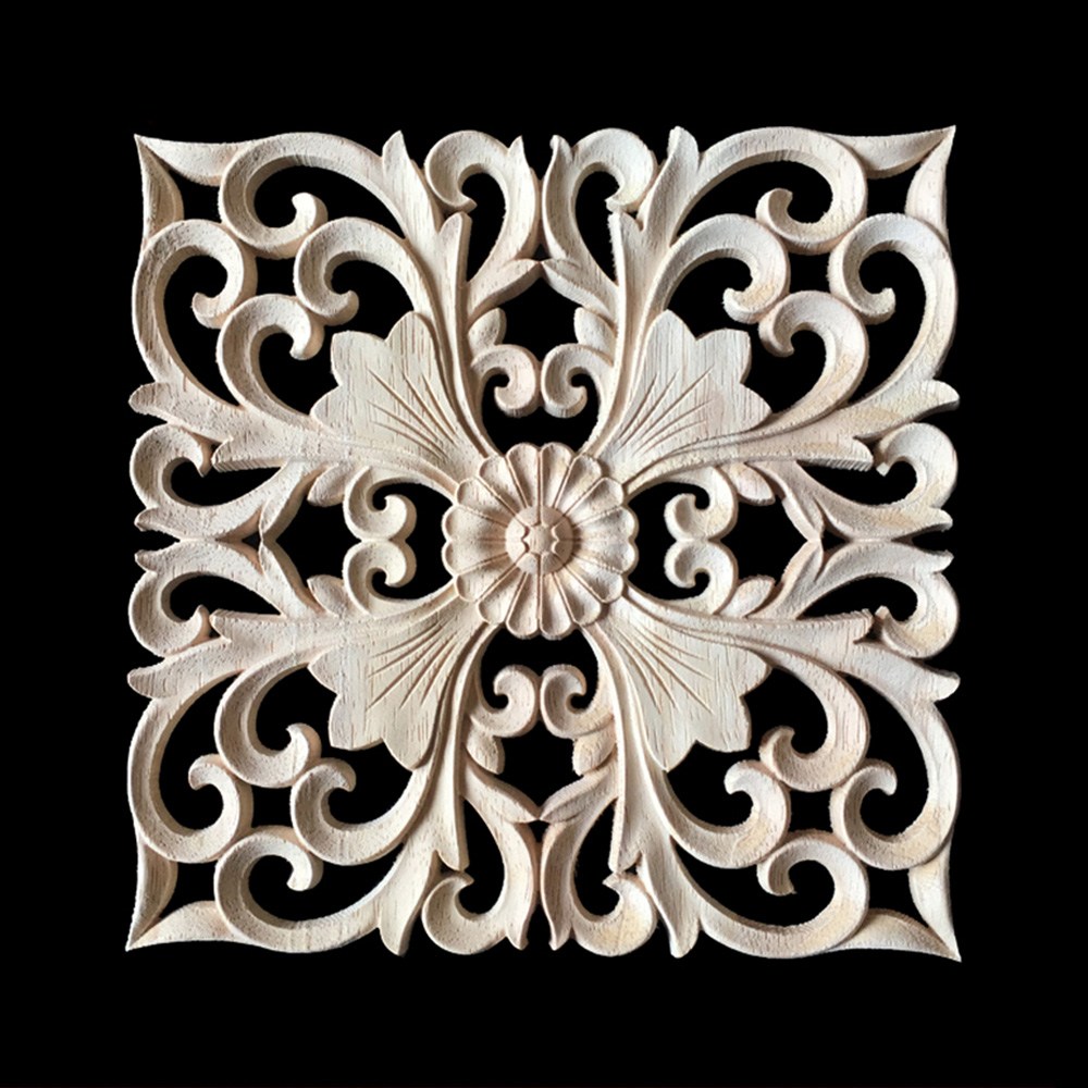 15CM 20CM 24CM Wood Carved Onlay Appliques Carpenter Frame Decal Furniture Decoration Wooden Crafts Decorative Flower Ornament
