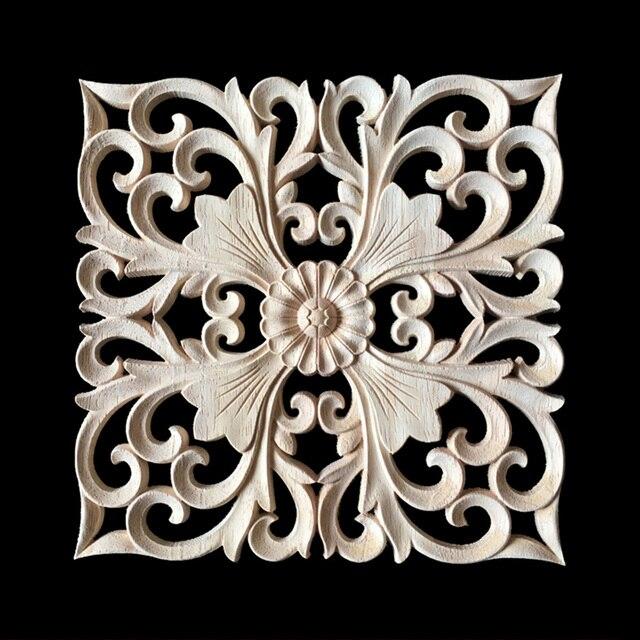 15CM 20CM 24CM Wood Carved Onlay Appliques Carpenter Frame Decal Furniture  Decoration Wooden Crafts Decorative Flower