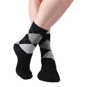 Image 4 - MYORED 10 pair/lot Mens socks solid color Cotton Socks Argyle pattern crew socks for business dress casual funny long socks