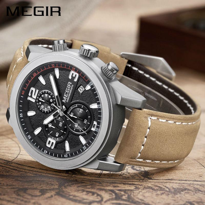 Image 3 - MEGIR Fashion Sport Watch Men Luxury Brand Men Quartz Watches Chronogragph Clock Leather Band Army Military Wrist Watch 2026watch brandwatch fwatch fashion -