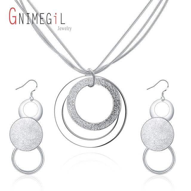 5bba8d0d060e GNIMEGIL Lima Peru Women Jewelry Sets Joyas De Plata 925 Statement Necklace    Two Round Circles