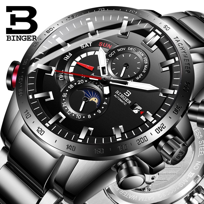 Genuine Luxury Switzerland BINGER Brand Men automatic mechanical Luminous waterproof running full steel belt male fashion watch genuine switzerland binger brand men automatic mechanical luminous calendar waterproof sports chronograph military gold watch