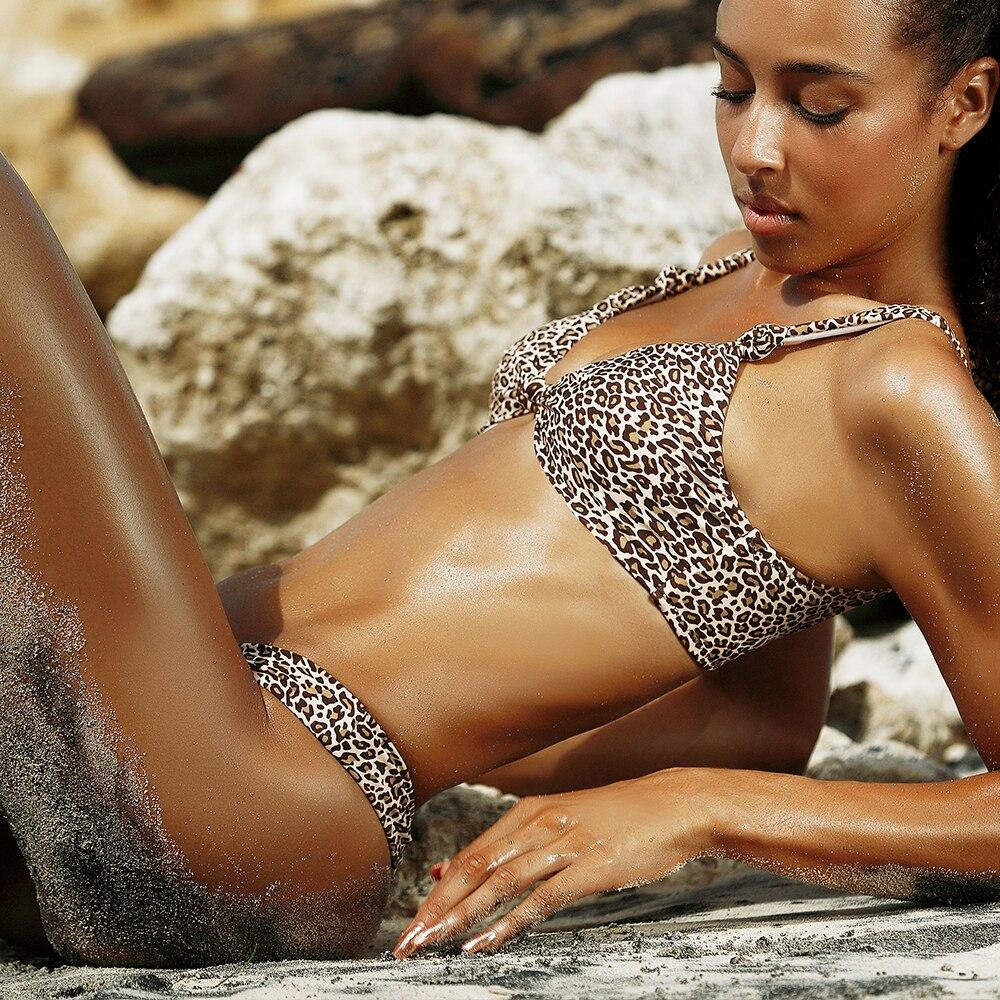 RXRXCOCO Bikini Women Sexy Swimsuit Thong Bikini Set Halter Summer Leopard Swimwear Brazilian Bathing Suit Padded Swim Suit
