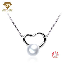 Zhaoru Jew Fashion Freshwater Pearl with 925 Sterling Silver Necklaces for Women Genuine Silver Fine Fashion Jewelry