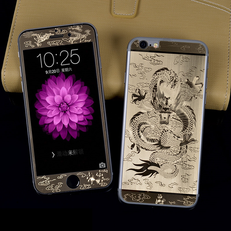 for iPhone 6 6S 6Plus Front + Back Dragon Plating Metal