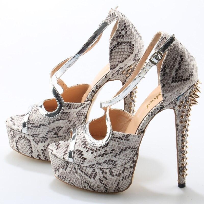 Sexy Gray Python Leather Women Peep Toe High Heels Peep Toe Silver Leather Strap Ladies Fashion Sandal Gold Rivets Heel Stiletto