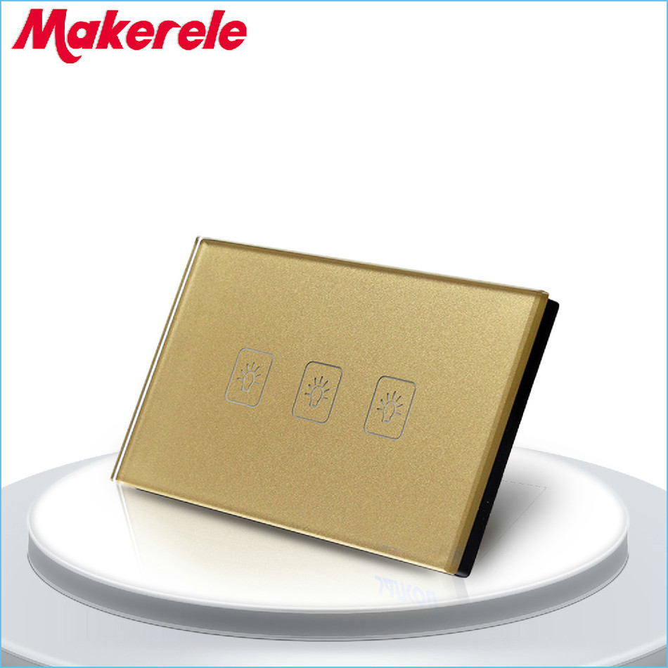 Touch Switch 3 Gang 1 Way US Standard Gold Touch Screen wall switch wall socket for lamp touch switch 3 gang 1 way us standard gold touch screen wall switch wall socket for lamp