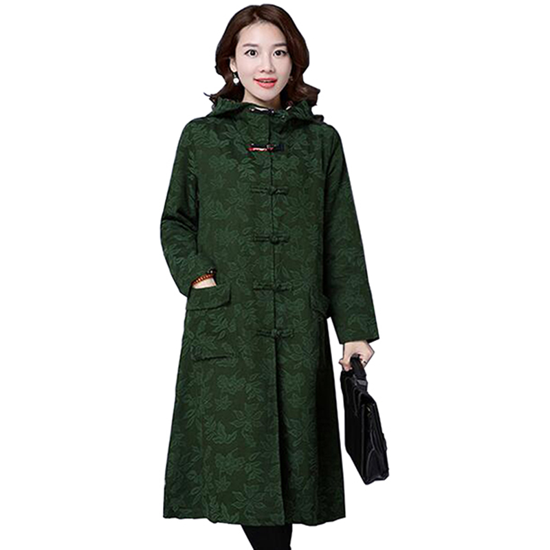 Trench   Coat Women 2017 Woman Spring Coat Autumn Hood Casual Green Overcoat Loose Black Cotton Womens Spring   Trench   Coats LU358