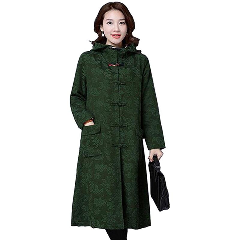 Trench Coat femmes 2017 femme printemps manteau automne capuche décontracté vert pardessus lâche noir coton femmes printemps Trench manteaux LU358