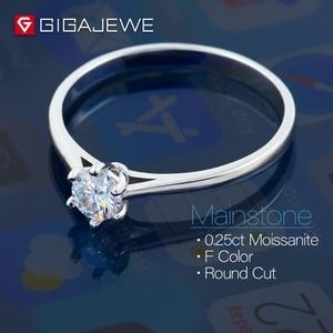 Image 3 - Gigajewe 0.3ct 4Mm Ronde Cut Ef VVS1 Moissanite 925 Zilveren Ring Diamanten Test Geslaagd Mode Vriendin Vrouwen Kerstcadeau