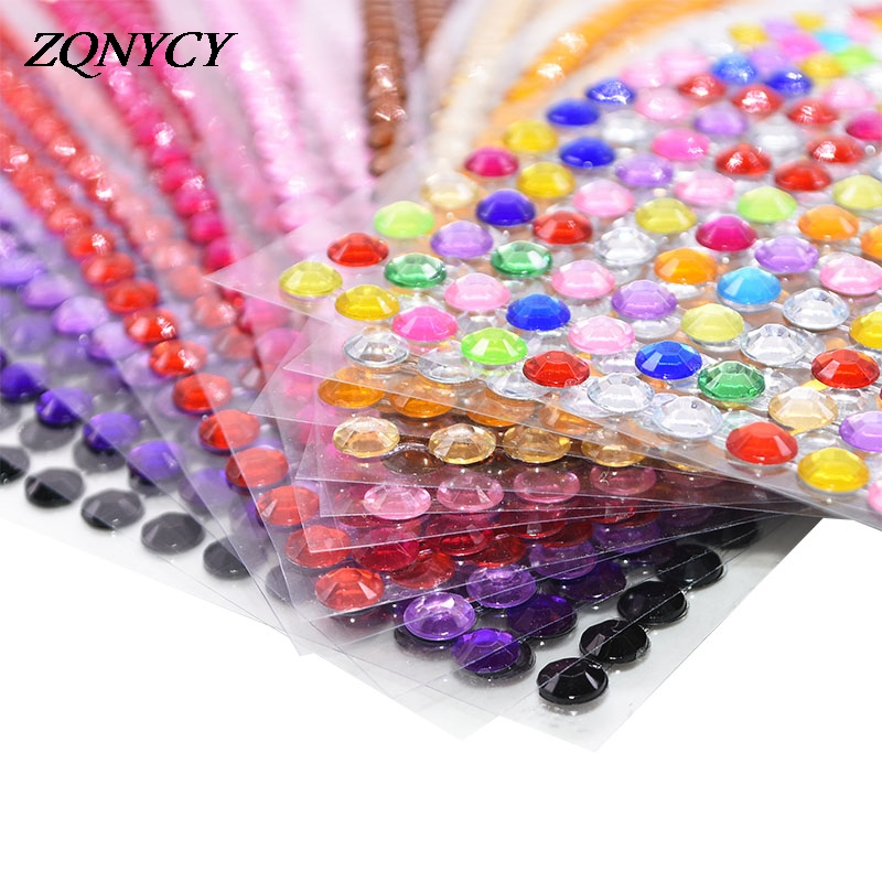 1 Sheet 3/4/5/6mm Rhinestone Stickers Self Adhesive Crystal Beads For Mobile Phone Car Decal Decoration Scrapbooking DIY Crafts